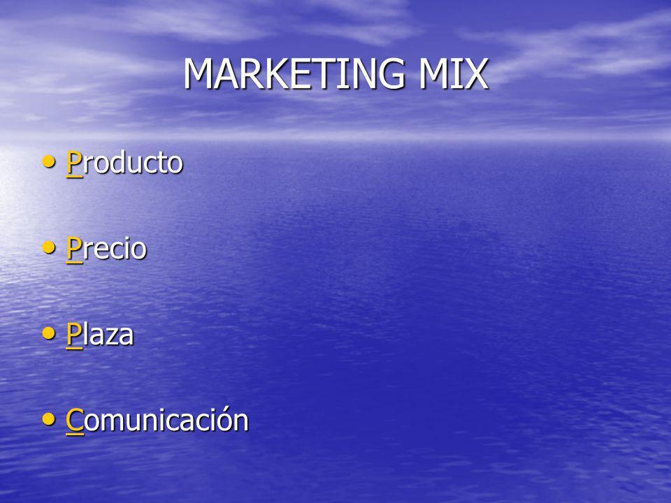 MARKETING MIX Producto Precio Plaza Comunicación
