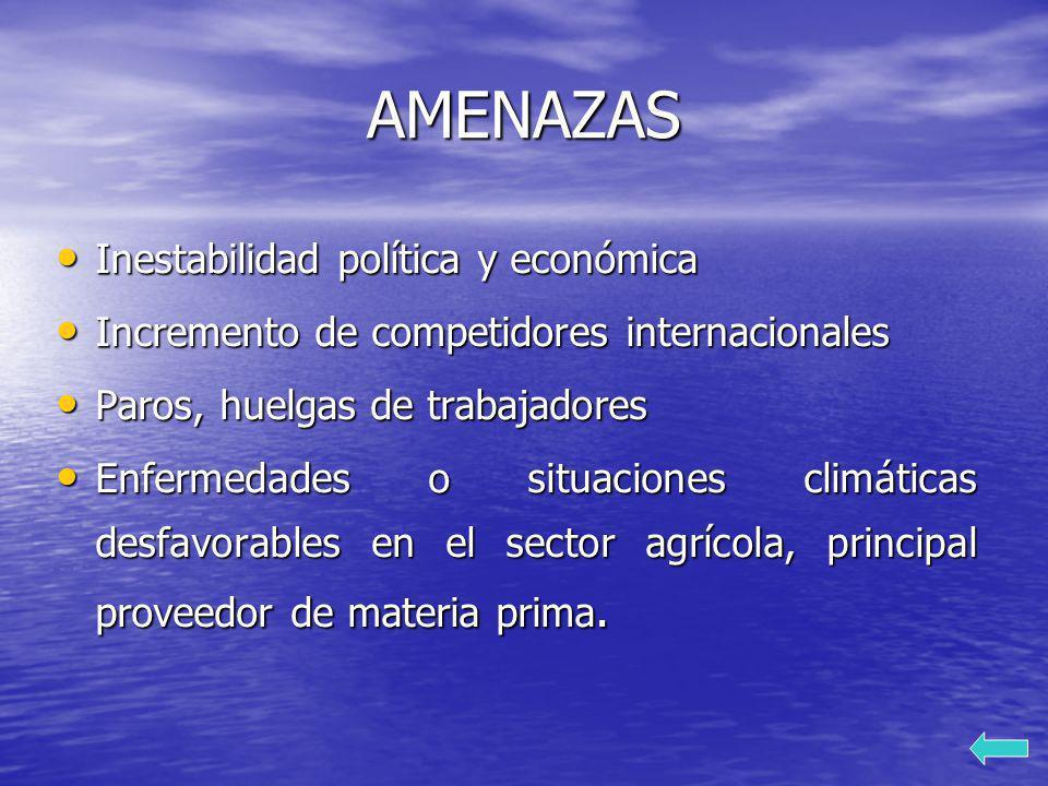 AMENAZAS Inestabilidad política y económica