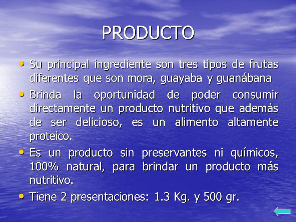 PRODUCTO Su principal ingrediente son tres tipos de frutas diferentes que son mora, guayaba y guanábana.