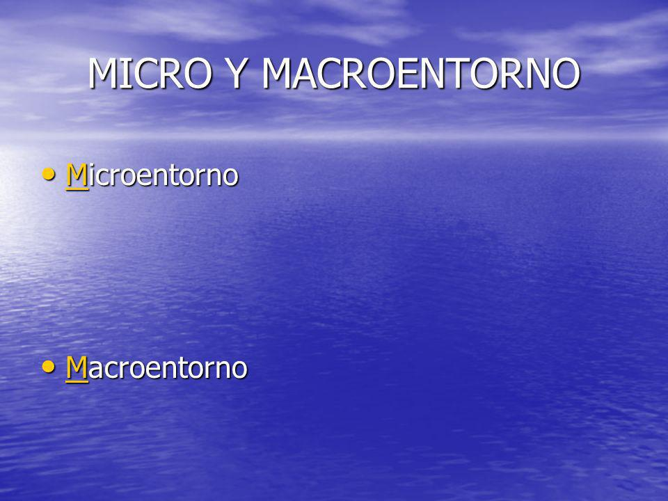 MICRO Y MACROENTORNO Microentorno Macroentorno