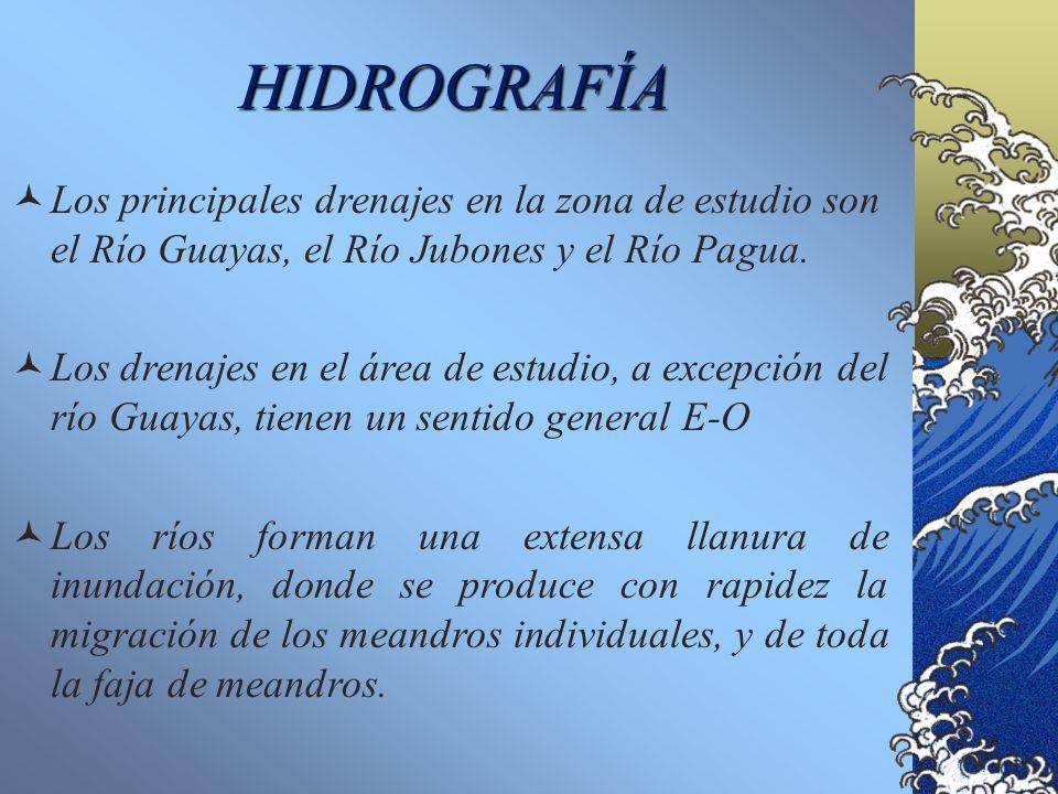 HIDROGRAFÍA Los principales drenajes en la zona de estudio son el Río Guayas, el Río Jubones y el Río Pagua.