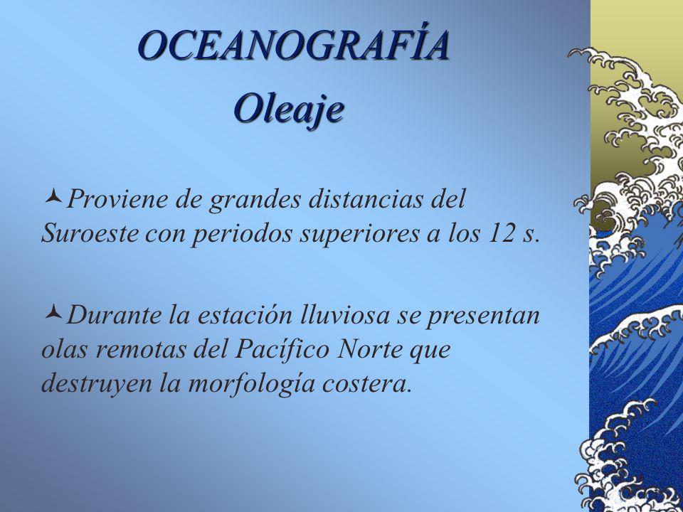 OCEANOGRAFÍA Oleaje. Proviene de grandes distancias del Suroeste con periodos superiores a los 12 s.