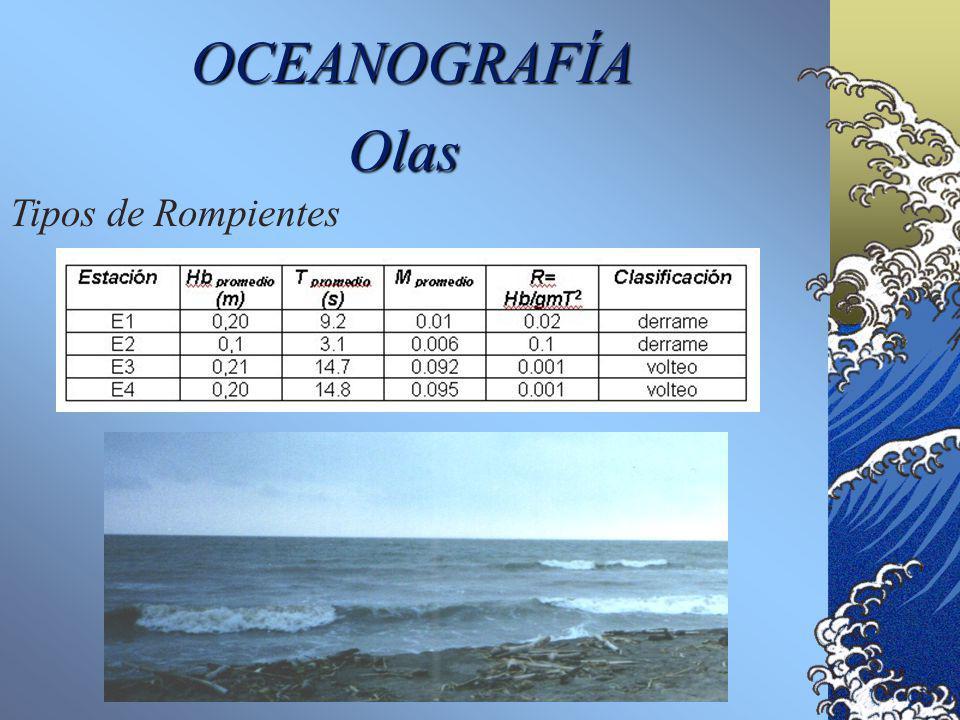 OCEANOGRAFÍA Olas Tipos de Rompientes