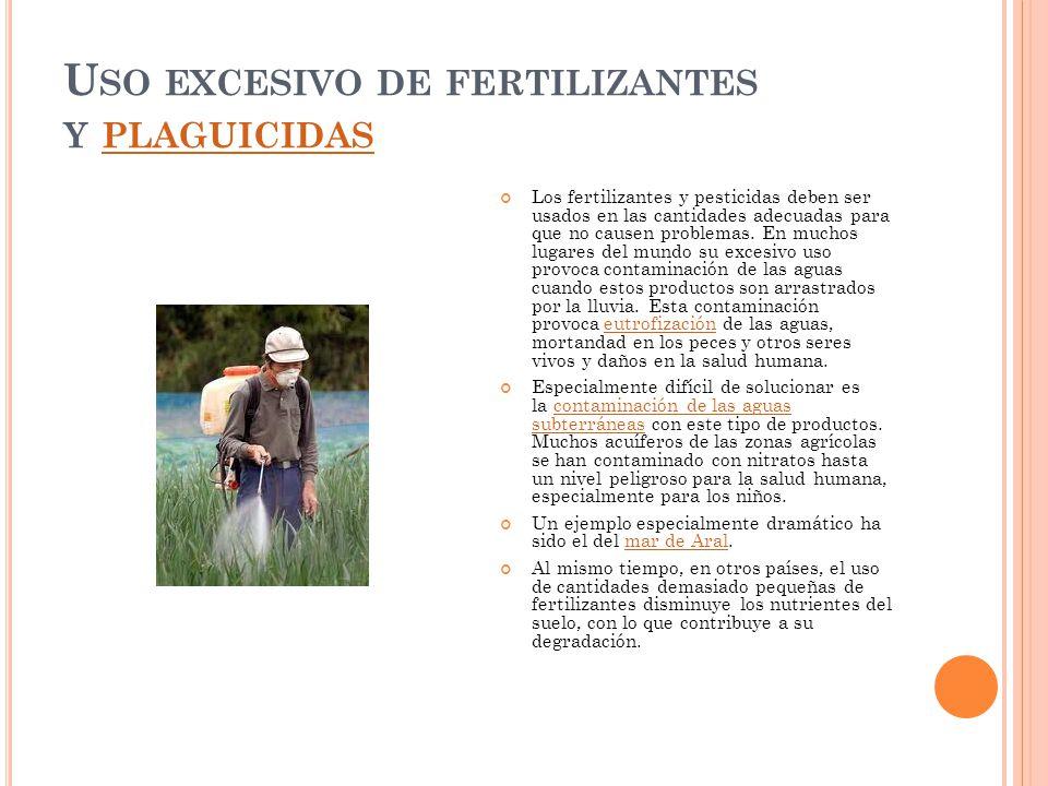 Uso excesivo de fertilizantes y plaguicidas