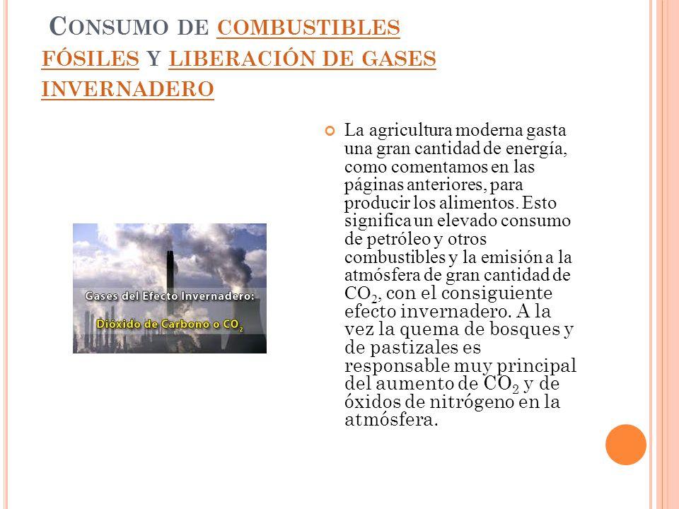 Consumo de combustibles fósiles y liberación de gases invernadero