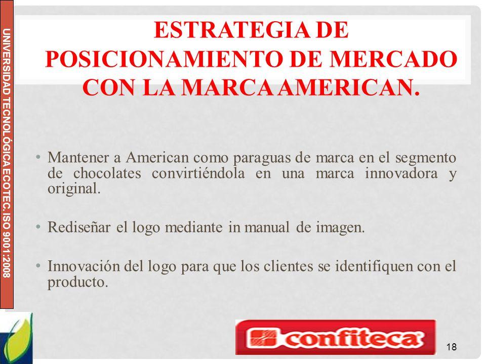 Estrategia de posicionamiento de mercado con la marca American.
