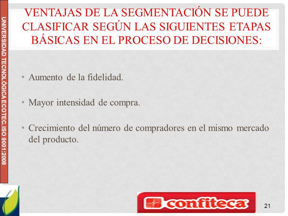 Ventajas de la segmentación se puede clasificar según las siguientes etapas básicas en el proceso de decisiones: