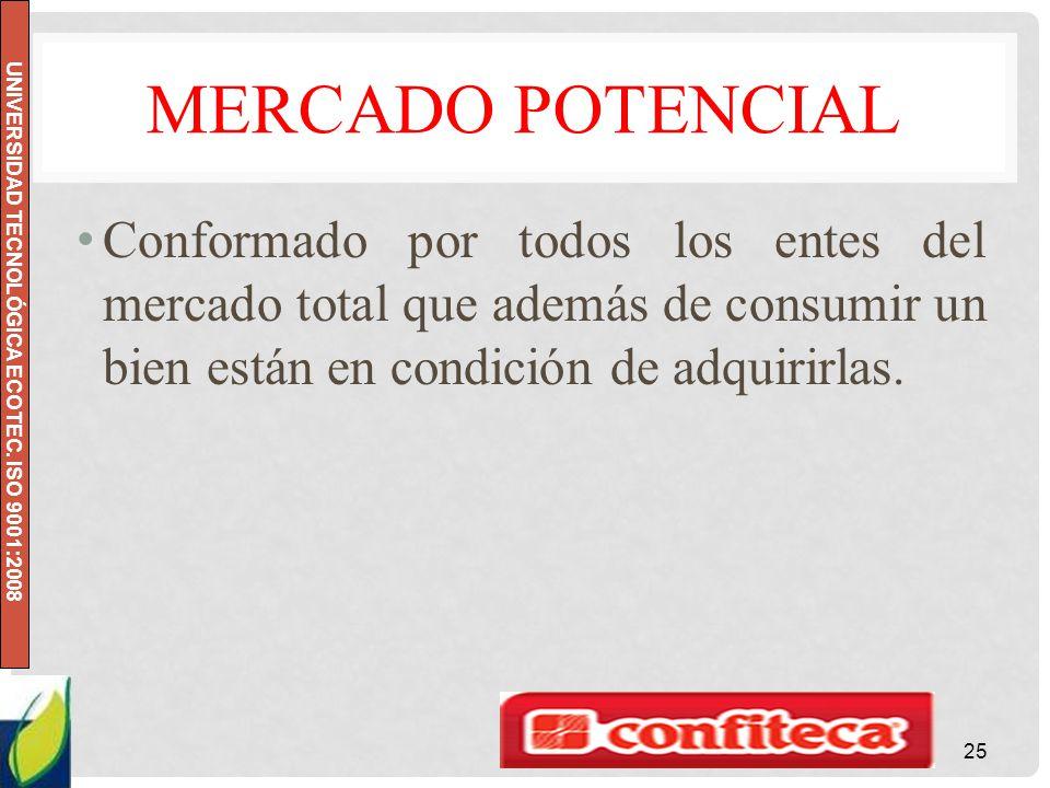 Mercado potencial Conformado por todos los entes del mercado total que además de consumir un bien están en condición de adquirirlas.