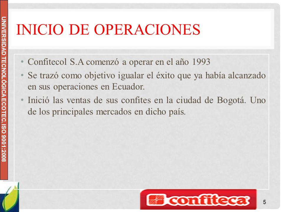 INICIO DE OPERACIONES Confitecol S.A comenzó a operar en el año 1993