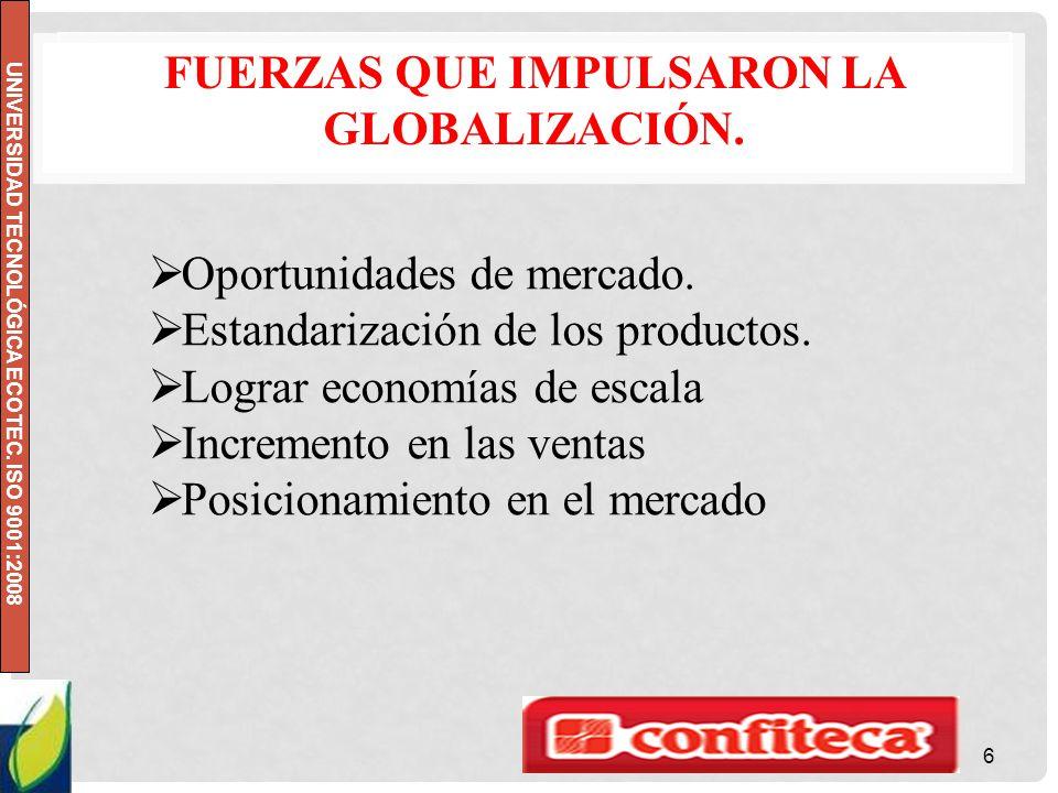 Fuerzas que impulsaron la Globalización.