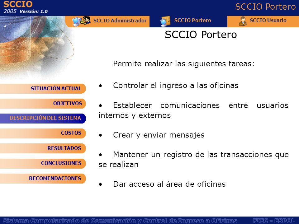 SCCIO Portero SCCIO Portero Permite realizar las siguientes tareas: