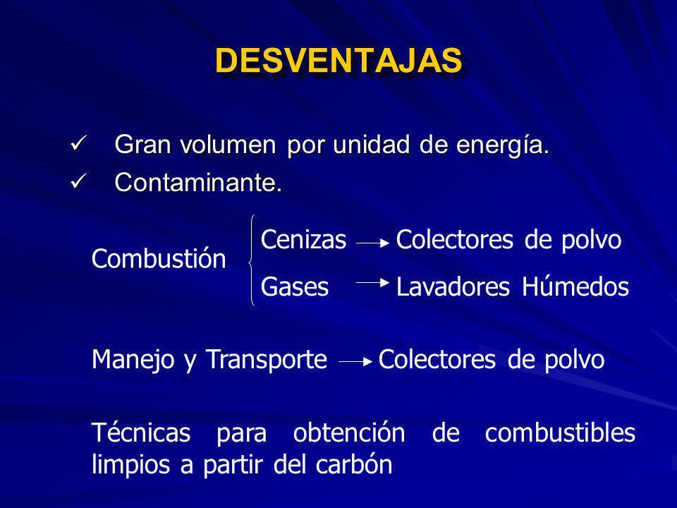 DESVENTAJAS Gran volumen por unidad de energía. Contaminante.
