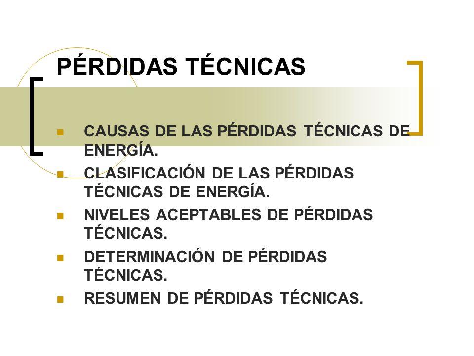 PÉRDIDAS TÉCNICAS CAUSAS DE LAS PÉRDIDAS TÉCNICAS DE ENERGÍA.
