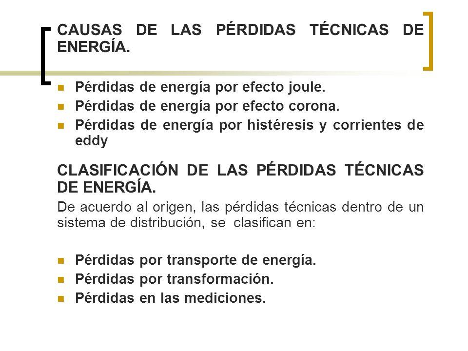CAUSAS DE LAS PÉRDIDAS TÉCNICAS DE ENERGÍA.