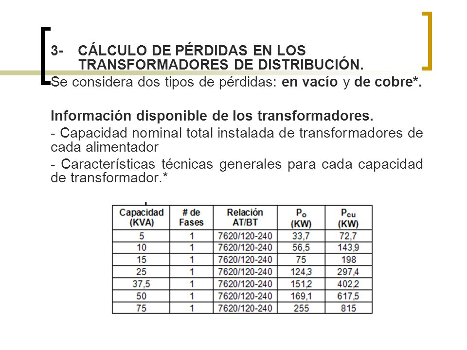 3- CÁLCULO DE PÉRDIDAS EN LOS TRANSFORMADORES DE DISTRIBUCIÓN.