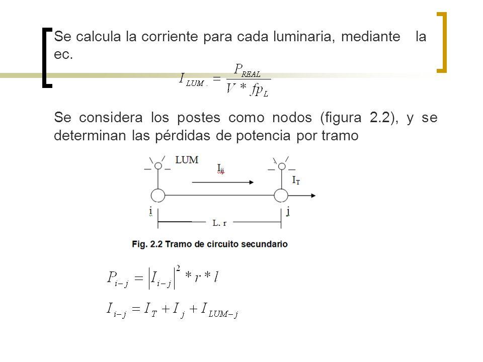 Se calcula la corriente para cada luminaria, mediante la ec.