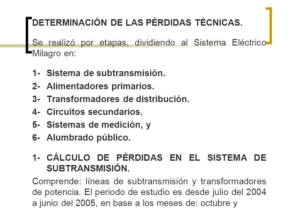 DETERMINACIÓN DE LAS PÉRDIDAS TÉCNICAS.