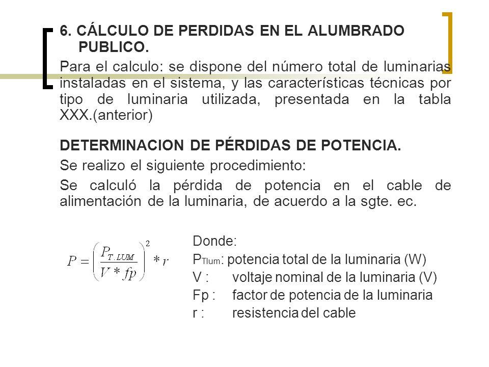 6. CÁLCULO DE PERDIDAS EN EL ALUMBRADO PUBLICO.