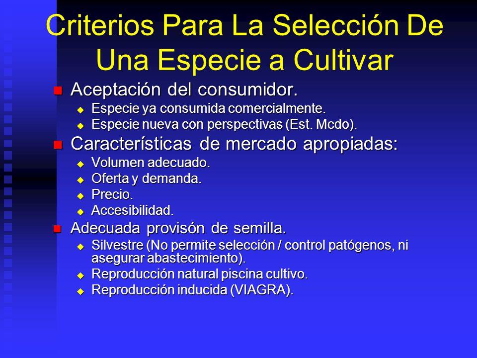 Criterios Para La Selección De Una Especie a Cultivar