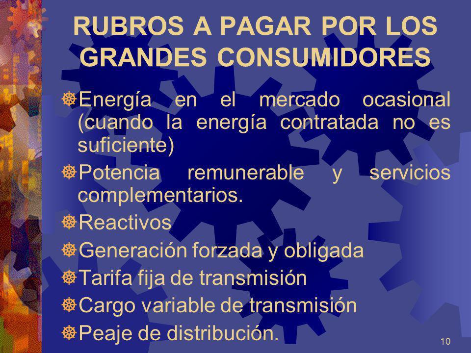 RUBROS A PAGAR POR LOS GRANDES CONSUMIDORES