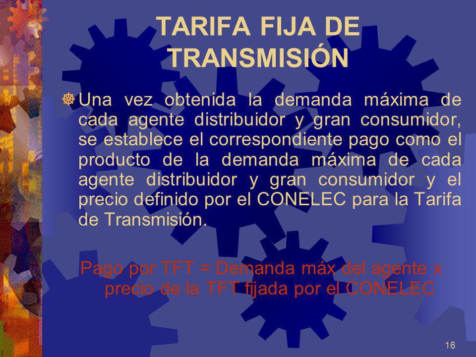 TARIFA FIJA DE TRANSMISIÓN