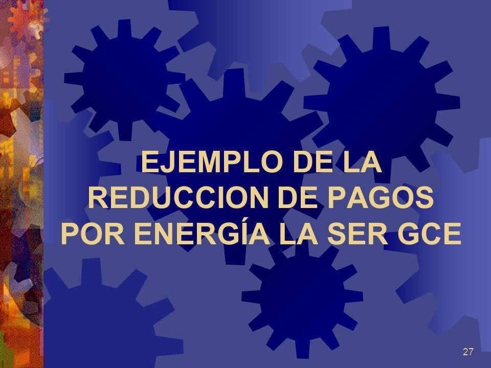 EJEMPLO DE LA REDUCCION DE PAGOS POR ENERGÍA LA SER GCE