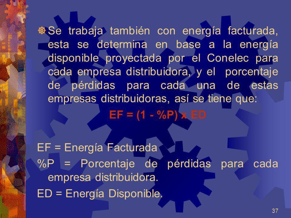 Se trabaja también con energía facturada, esta se determina en base a la energía disponible proyectada por el Conelec para cada empresa distribuidora, y el porcentaje de pérdidas para cada una de estas empresas distribuidoras, así se tiene que:
