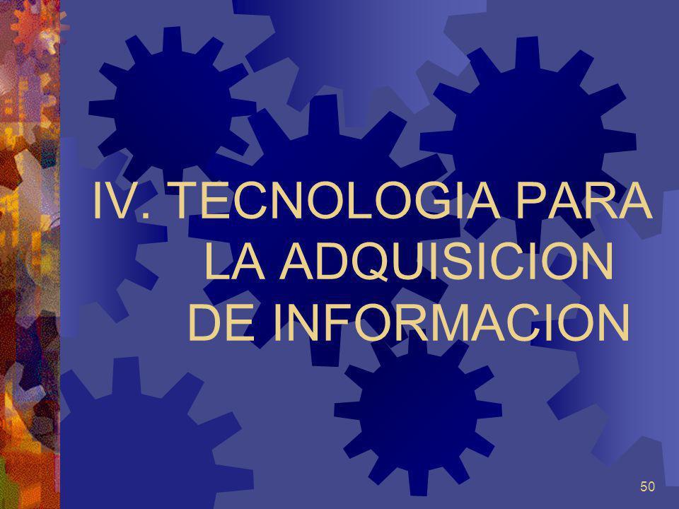 TECNOLOGIA PARA LA ADQUISICION DE INFORMACION