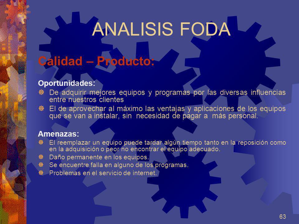 ANALISIS FODA Calidad – Producto: Oportunidades: Amenazas: