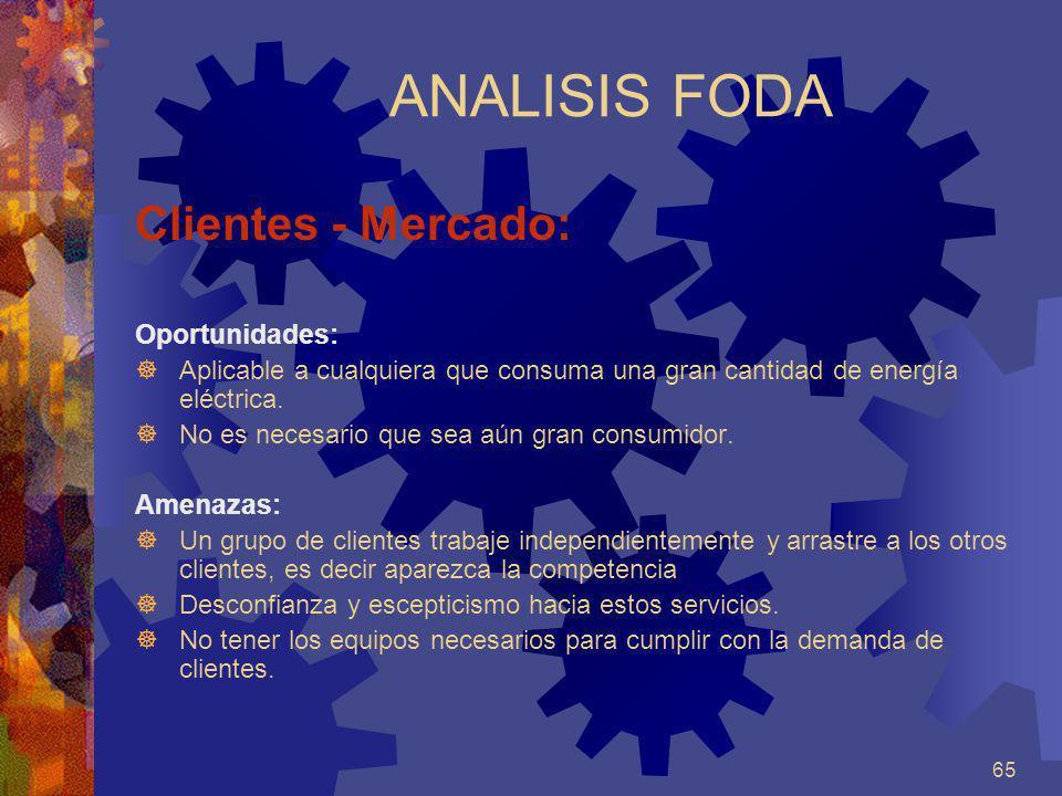 ANALISIS FODA Clientes - Mercado: Oportunidades: Amenazas: