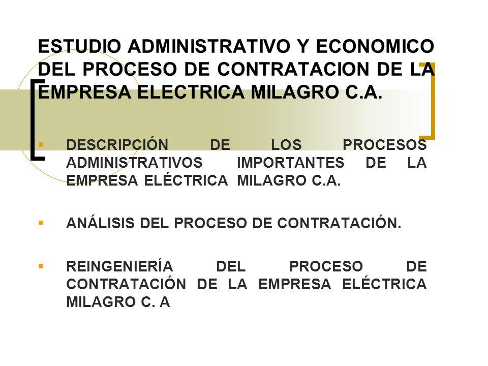 ESTUDIO ADMINISTRATIVO Y ECONOMICO DEL PROCESO DE CONTRATACION DE LA EMPRESA ELECTRICA MILAGRO C.A.