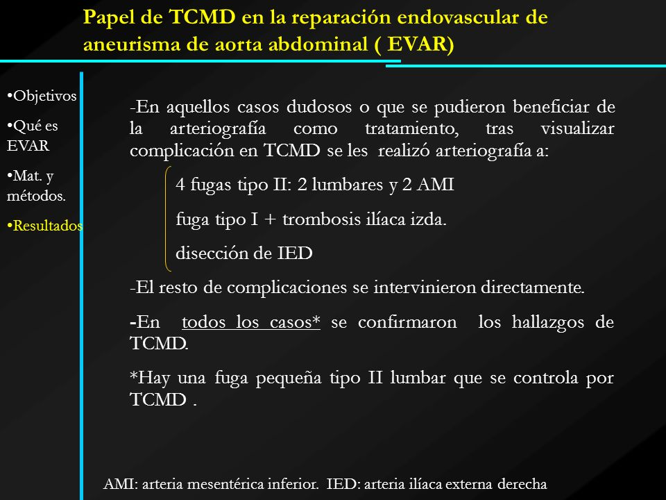Papel de TCMD en la reparación endovascular de aneurisma de aorta abdominal ( EVAR)