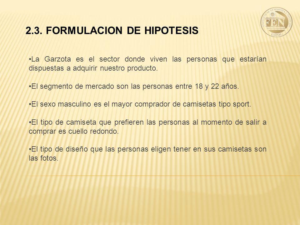 2.3. FORMULACION DE HIPOTESIS