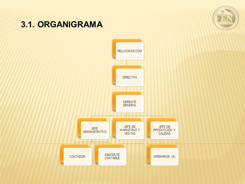 3.1. ORGANIGRAMA PELUCONAS.COM DIRECTIVA GERENTE GENERAL