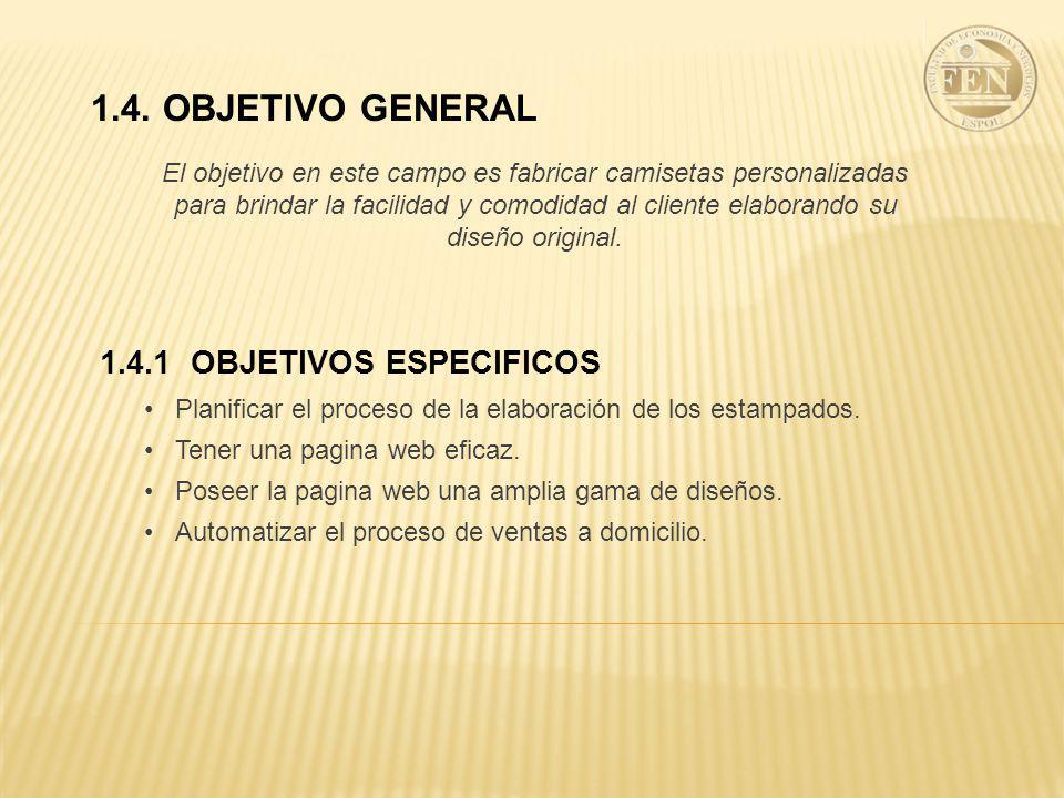 1.4. OBJETIVO GENERAL 1.4.1 OBJETIVOS ESPECIFICOS