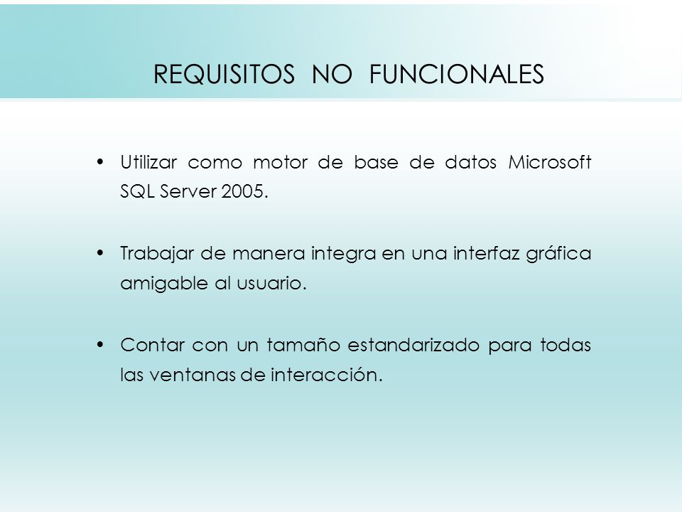 REQUISITOS NO FUNCIONALES
