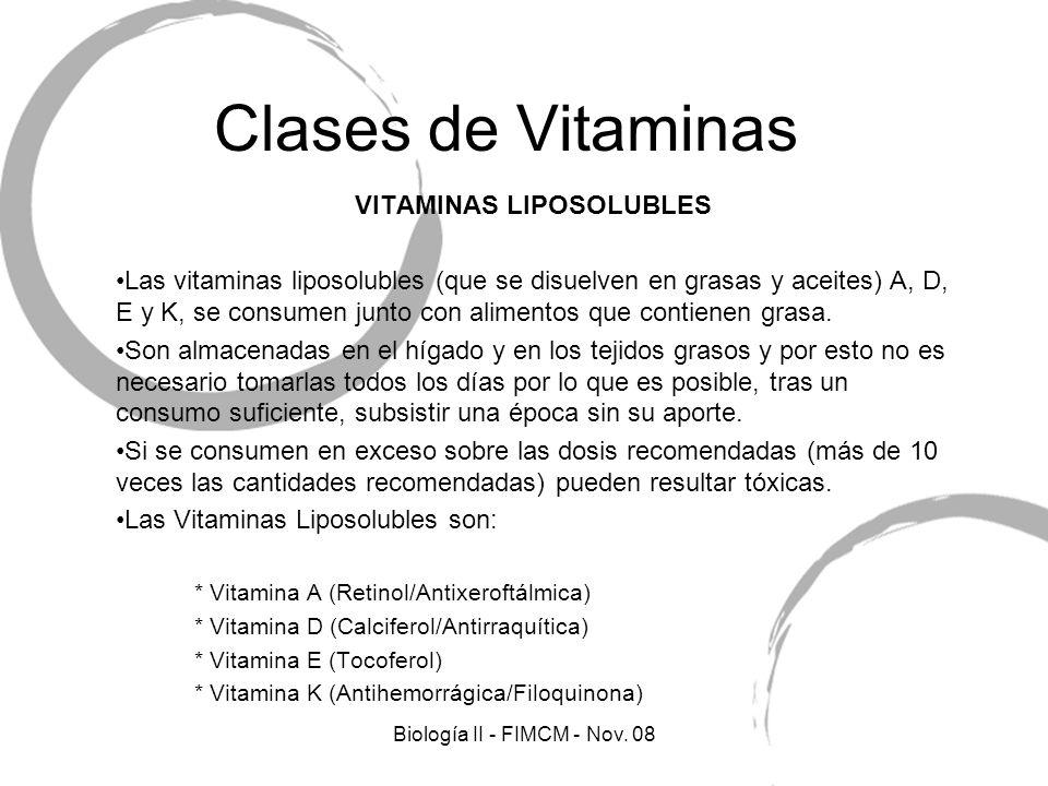Clases de Vitaminas VITAMINAS LIPOSOLUBLES