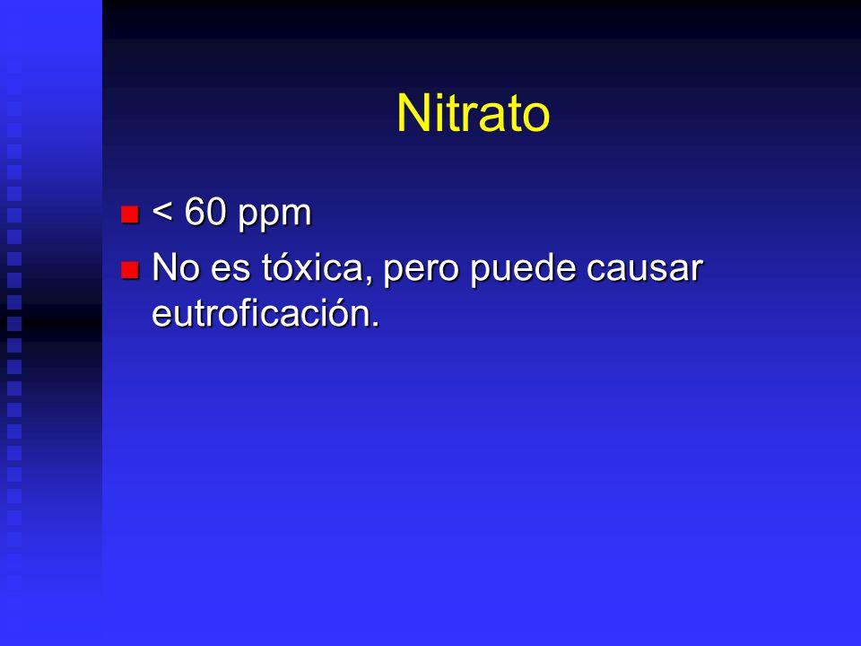 Nitrato < 60 ppm No es tóxica, pero puede causar eutroficación.