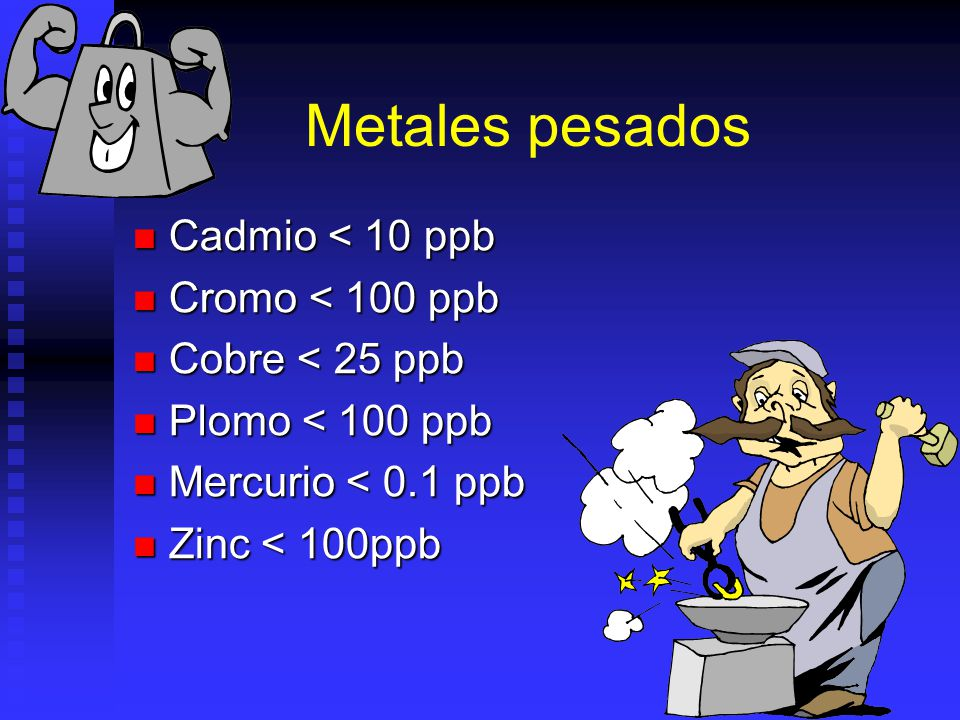 Metales pesados Cadmio < 10 ppb Cromo < 100 ppb