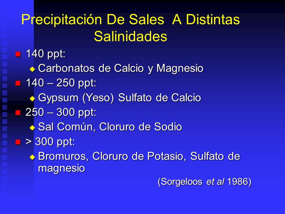 Precipitación De Sales A Distintas Salinidades