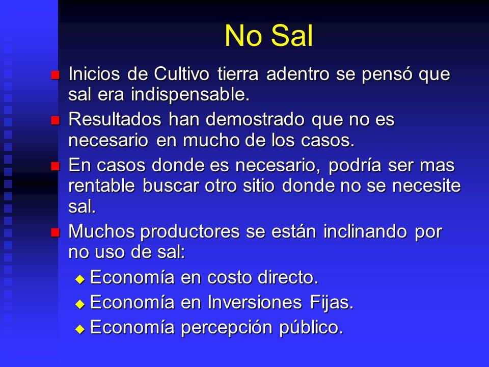No Sal Inicios de Cultivo tierra adentro se pensó que sal era indispensable. Resultados han demostrado que no es necesario en mucho de los casos.