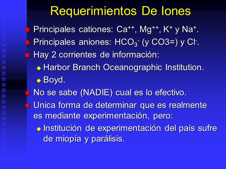 Requerimientos De Iones