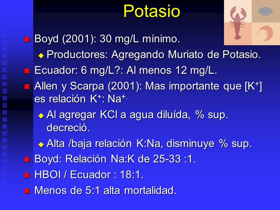 Potasio Boyd (2001): 30 mg/L mínimo.
