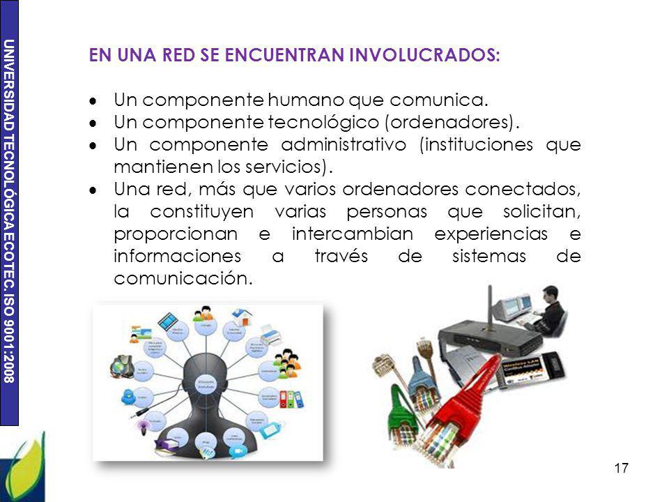 EN UNA RED SE ENCUENTRAN INVOLUCRADOS:
