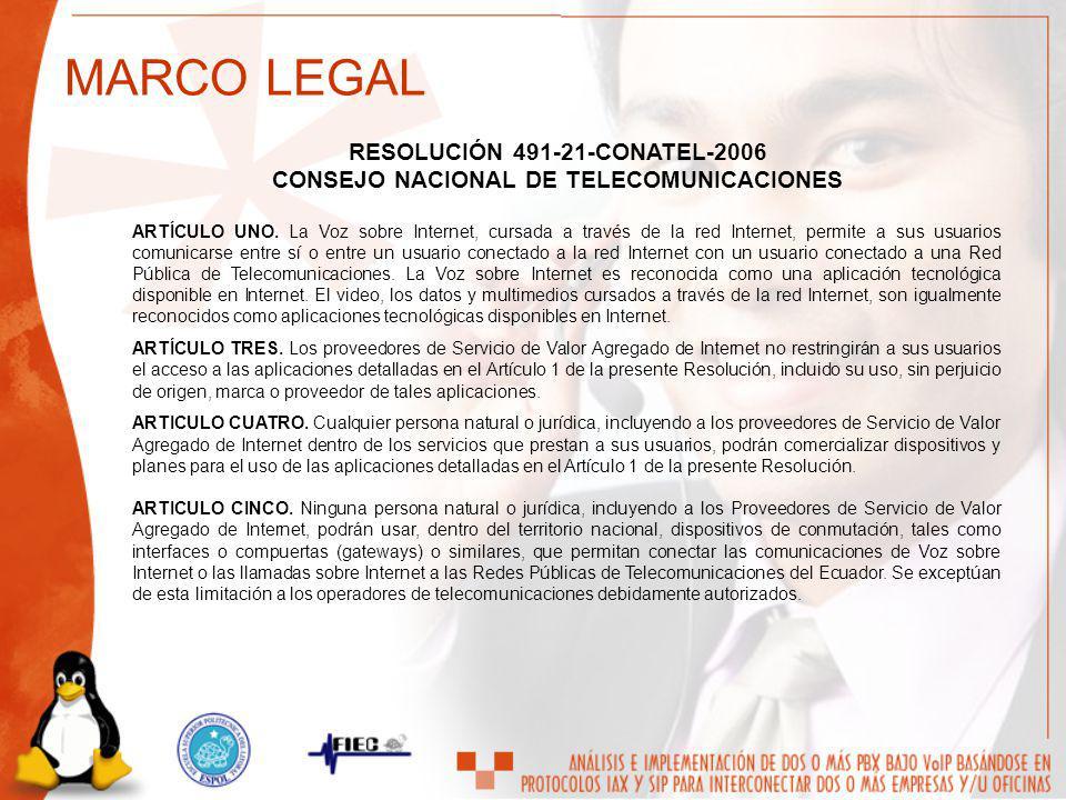 RESOLUCIÓN 491-21-CONATEL-2006 CONSEJO NACIONAL DE TELECOMUNICACIONES