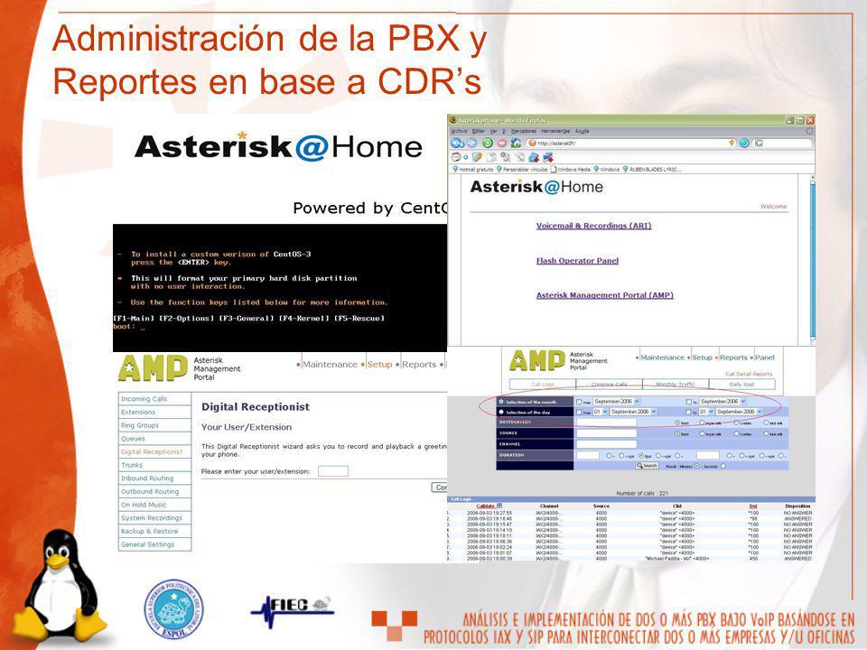 Administración de la PBX y Reportes en base a CDR's