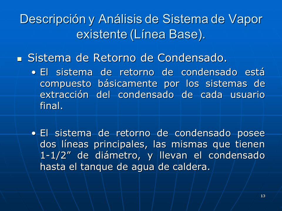 Descripción y Análisis de Sistema de Vapor existente (Línea Base).
