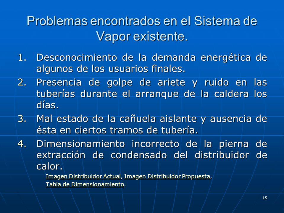 Problemas encontrados en el Sistema de Vapor existente.