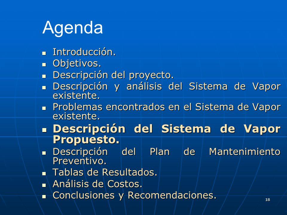 Agenda Descripción del Sistema de Vapor Propuesto. Introducción.