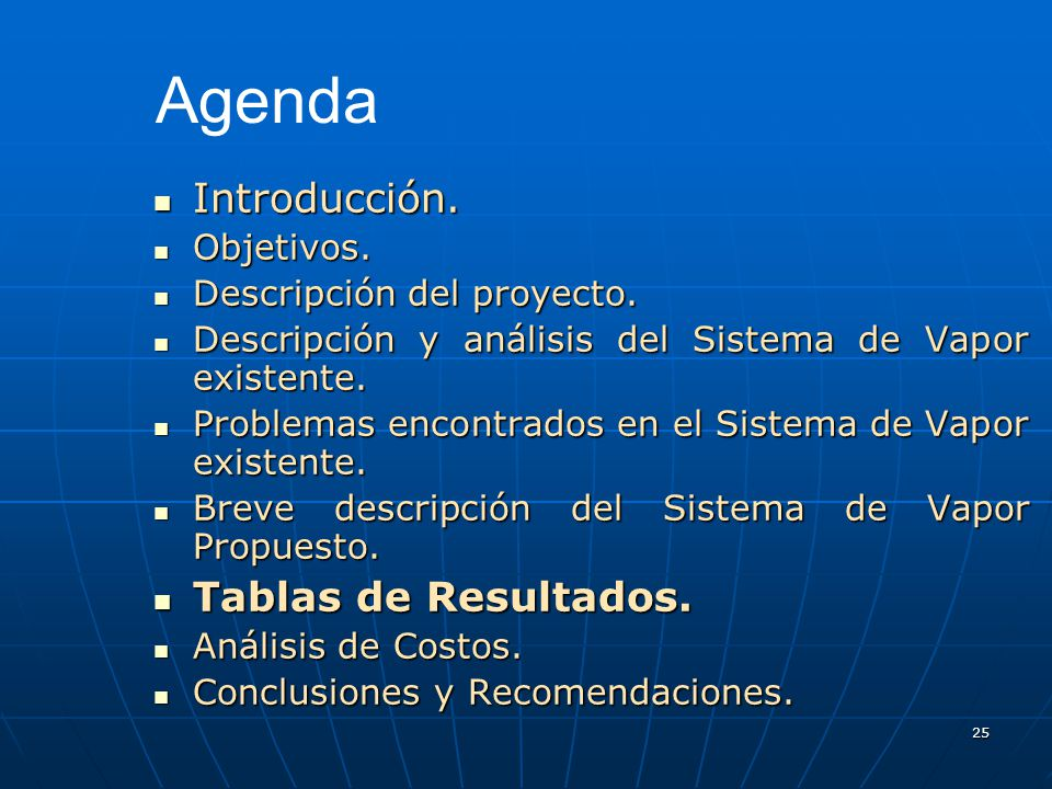 Agenda Introducción. Tablas de Resultados. Objetivos.